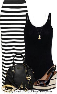 Black and white skirt black tank