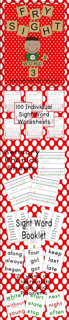 Fry Sight Words Pack (from Sharing Kindergarten; not free)