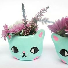 Super adorable cat planters by @ponypeople #crafts #handmade #craft #cute…