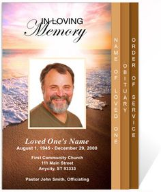 4 page graduated mountain memory funeral program template
