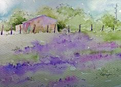 Watercolor Paintings by RoseAnn Hayes: Lavender Field Watercolor Painting