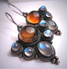 Vintage Moonstone Amber Earrings Victorian Georgian Revival Arts and Crafts Silver - October 12 2019 at Antique Necklace, Antique Jewelry, Vintage Jewelry, Amber Earrings, Silver Earrings, Gold Necklace, Roman Jewelry, Walmart Jewelry, Unusual Jewelry