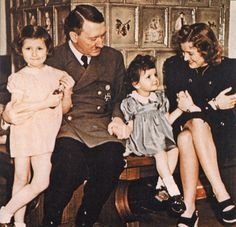 Hitler and Eva Braun and children.In colour