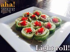 Exelente para una dieta balanceada! Relleno de (camarón, atún y/o salmón spicy) con tiras de queso crema y aguacate en hoja de pepino fresco , decorado con masago y ajonjoli