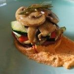 Grilled vegetable stack with roast tomato pesto