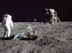 Astronaut and Lunar Module pilot Buzz Aldrin with the LR-3 during the Apollo 11 mission, the only Apollo experiment that is still returning data from the moon.