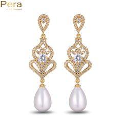 Pera Elegant Women Full Cubic Zirconia Stone Big Chandelier Bridal Wedding Long Dangle Earrings With Created Drop Pearl E066