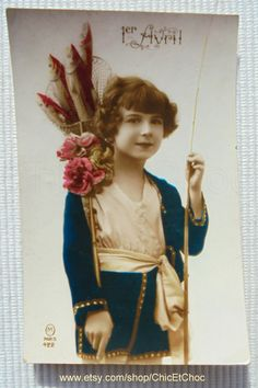 Vintage French Postcard - Child with a Fishing Rod & Net Full of Fish (Poisson D'Avril / April 1st) by ChicEtChoc on Etsy