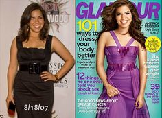"The real America Ferrera in 2007 (left), and Glamour's bobblehead version, next to this headline: ""101 Ways to Dress Your Body Better."" Glamour: America was prettier without you."