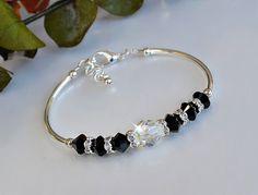 Black Swarovski Crystal Bangle Bracelet by HeartofGems on Etsy, $23.00
