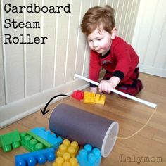 Make a cardboard steamroller for the kids