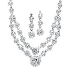 Mariell Regal Silver Two Row Rhinestone Bridal Prom Bridesmaids... ($25) ❤ liked on Polyvore featuring jewelry, bridal jewellery, rhinestone bridal jewelry, silver jewelry, silver jewellery and bridal jewelry