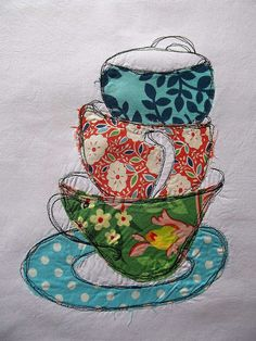 Raw edge applique Dreaming About all the Tea in China - Seven-Stitches Free Motion Embroidery, Free Machine Embroidery, Embroidery Applique, Fabric Art, Fabric Crafts, Sewing Crafts, Sewing Projects, Raw Edge Applique, Textiles
