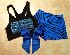 Custom Glitter & Zebra Cheer Set with Bow - Sports Bra, Hot Shorts and Bow - Dance Gymnastics - Multiple Color Options on Etsy, $50.00