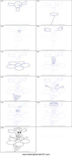 How to Draw Flabebe from Pokemon printable step by step drawing sheet : DrawingTutorials101.com