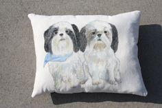 Max and Lillie Custom Hand Painted Pillow www.evamariekelleyburns.com