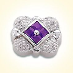 2.50 millimeter princess cut four stone synthetic sapphire purple set in sterling silver slide for GK Coloures Collection Metal:Sterling Silver Designer:Goldman-Kolber $ 110.00 Item #: UYRVNT Call 870-863-8818 for personal consultation.