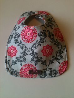 Baby Bib  Pink Gray Medallions by Essiedesigns on Etsy