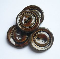 Brown Ceramic Buttons by buttonalia on Etsy, $12.00