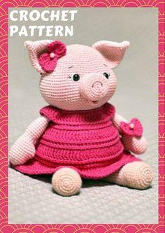 Crochet Amigurumi Free Patterns, Crochet Animal Patterns, Crochet Doll Pattern, Stuffed Animal Patterns, Crochet Animals, Crochet Pig, Crochet Gifts, Pig Crafts, Amigurumi Doll