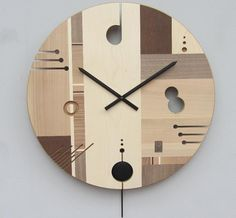 Handmade Wood Clocks | Intarsia wood inlaid wall clock made with maple, National walnut ...