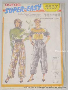 Check out Burda Super-Easy Pattern 5537 Women's Pants, Size 8-18 UNCUT on vintagecornerbazaar