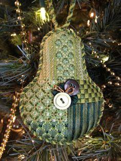 Needlepoint Pear ornament