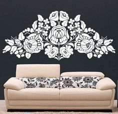 dig the wallsticker! Hungarian Tattoo, Hungarian Embroidery, Stencil Diy, Stencil Designs, German Folk, Vinyl Wall Decals, Wall Sticker, Beautiful Living Rooms, Home Wall Art