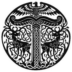 """AnIrminsul(Old Saxon, probably """"great/mighty pillar"""" or """"arising pillar"""") was a kind ofpillarwhich is attested as playing an important role in theGermanic paganismof theSaxon people. The oldest chronicle describing an Irminsul refers to it as a tree trunk erected in the open air.The purpose of the Irminsuls and the implications thereof have been the subject of considerable scholarly discourse and speculation for hundreds of years."""
