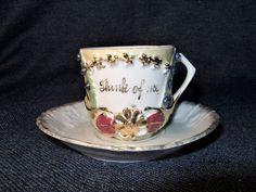 Antique German Think Of Me Yellow Memory Souvenir Demitasse Cup w/Gold Trim EUC