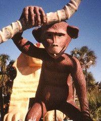 A giant monkey swings from a fake palm tree at Goofy Golf, Panama City Beach, Florida by stevesobczuk, via Flickr