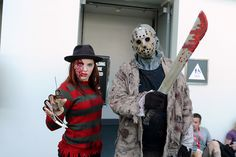 Freddy Krueger and Jason Voorhees cosplay at Comic-Con Horror Icons, Jason Voorhees, San Diego Comic Con, Freddy Krueger, Cosplay, Baseball, Comics, Friday, Awesome