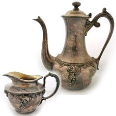 *SOLD-CREAMER* Vintage Antique BARBOUR SILVER CO QUADRUPLE SILVERPLATE Coffee Tea Creamer SET. NOTE: CREAMER is SOLD, but the COFFEE or TEA POT PITCHER is still available for SALE $145 ... we sell more VINTAGE and ANTIQUE KITCHEN ITEMS at http://www.TropicalFeel.com