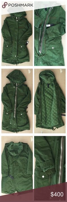 Marc Jacobs Int'l Dark Green Heavy Coat  NWT - MARC JACOBS INTL - Green coat that has an inner padded lining. Buttons and zips. Drawstring at the bottom. This is a heavy, warm  and thick coat. Marc Jacobs Jackets & Coats