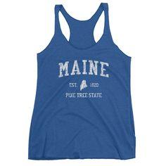 Vintage Maine ME Women's Racerback Tank Top - JimShorts