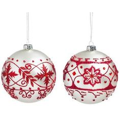 Three Posts 2 Piece Nordic Pattern Glass Ball Ornament Set
