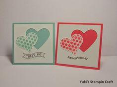 スタンピンアップ  グルービー・ラブ スタンプセットで 3x3 インチ Thank You カード!  3x3 inches Thank You card using Groovy Love stamp set & Heart collection framelits die, Stampin'Up!
