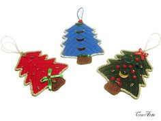 Crochet Christmas Tree Hanging Ornaments by CreArtebyPatty on Etsy