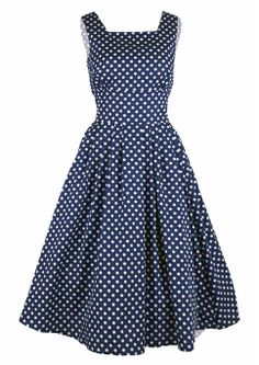50s Polka Day Dress - 100% cotton made in the UK http://www.20thcenturyfoxy.com/en/just-added/50s-polka-day-dress