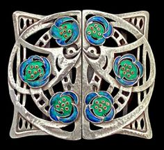 An Arts and Crafts silver and enamel buckle, by Jessie Marion King for Liberty & Co, circa