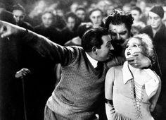 Fritz Lang directing Brigitte Helm on the set of Metropolis, 1927.