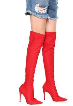 1641374acd Bota Meia Over The Knee Luiza Barcelos Bico Fino Vermelha