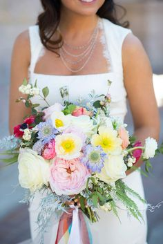 spring wedding bouquet, photo by Green Blossom Photography http://ruffledblog.com/notwedding-denver #poppies #weddingbouquet