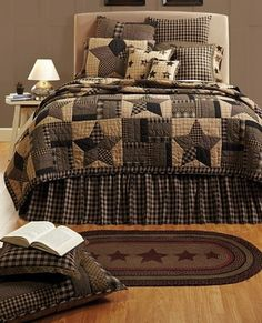 Bingham Star Quilt Bedding Collection Bingham Star Quilt Bedding in cotton quilt bed sets feature a 5 point star and stip blocks hand quilted patchwork motif reminiscent of antique quilts of the from the turn of the century for your @ King Quilt Bedding, Colchas Quilt, Star Bedding, Bedding Sets, Duvet, Queen Quilt, Star Quilts, Twin Quilt, Quilt Pillow