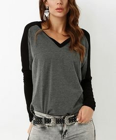 Take a look at this Bambina Mia Anthracite & Black Dolman Top today!