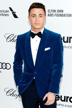 Colton Haynes Photos - Actor Colton Haynes attends the Annual Elton John AIDS Foundation Academy Awards Viewing Party at The City of West Hollywood Park on March 2014 in West Hollywood, California. - Elton John AIDS Foundation Oscar Viewing Party — Part 7 Velvet Blazer, Velvet Jacket, Sharp Dressed Man, Well Dressed Men, Colton Haynes, Men Formal, Gentleman Style, Men Looks, Wedding Suits