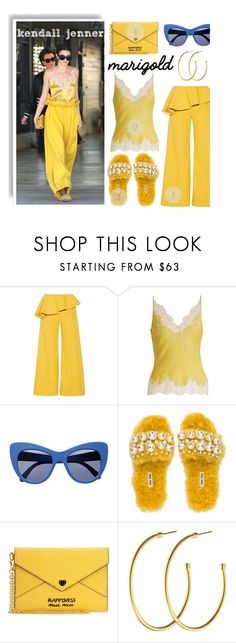 """Kendall Jenner in Marigold"" by shica-du ❤ liked on Polyvore featuring Rosie Assoulin, Carine Gilson, STELLA McCARTNEY, Miu Miu, Dyrberg/Kern, celebstyle and kendalljenner"