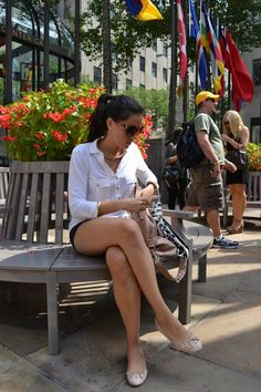 Mini shorts show Legs - (New York, these ones are from Rockefeller center)