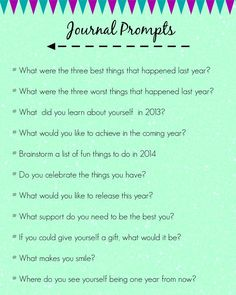 Journal Prompts for a New Year..... - This Enchanted Pixie // Dated for 2013 but these are great prompts to include for any year!