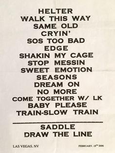 Aerosmith 2006 Set List Vegas